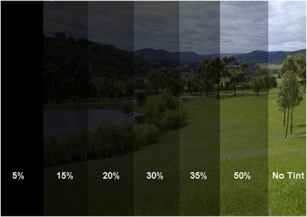 Car window tint percentages